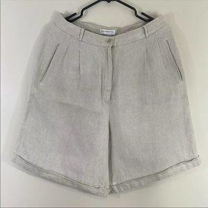 Liz Claiborne Women 100% Linen Relaxed Shorts Sz14
